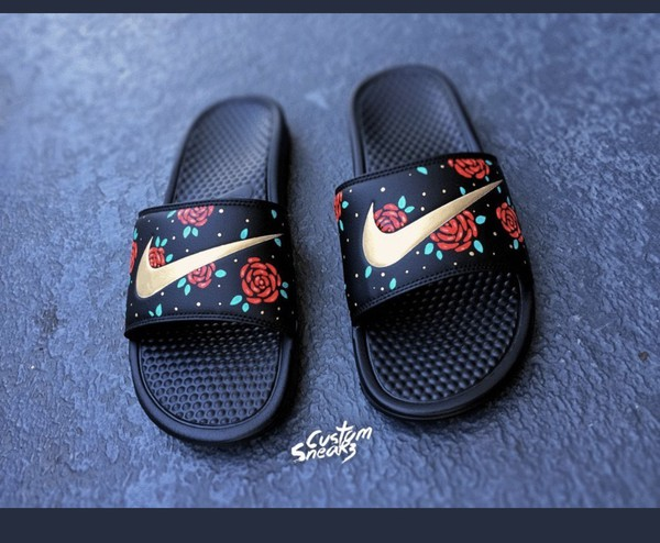 562765c0f37e rose nike slides with gold check - Google Search