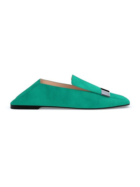 Sergio Rossi women loafers leather suede green shoes