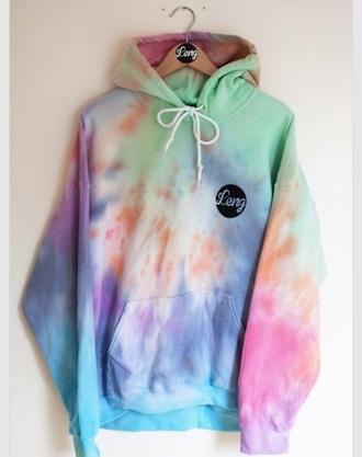 jacket hoodie leng tie dye