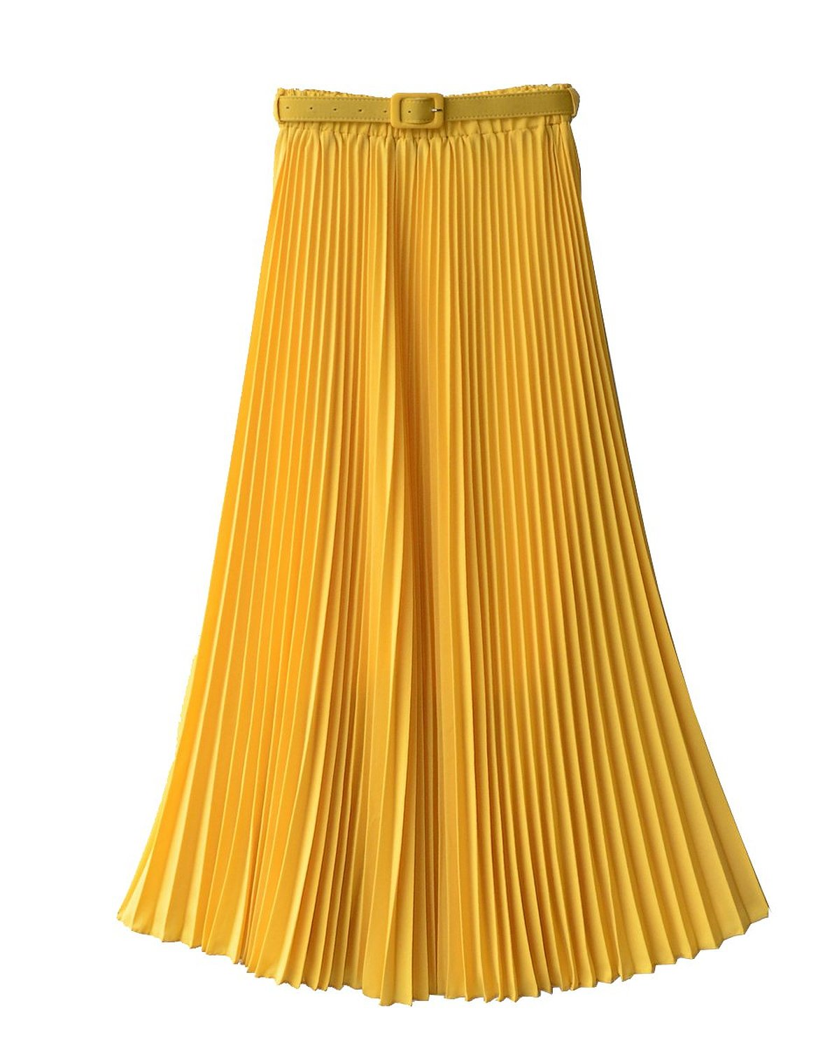 Women's Pleated Retro Maxi Long Skirt Yellow One Size at Amazon Women's Clothing store: