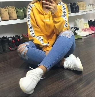 sweater adidas yellow hoodie sweatshirt jacket sportswear adidas sweater adidas top yeezus sneakers nike sneakers white sneakers