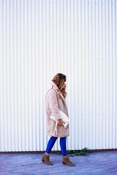 faux fur blogger fringe and frange jeans cocoon