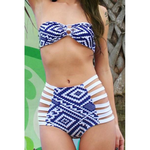 swimwear bikini blue high waisted strapless white summer beach sexy hot strappy rose wholesale-jan