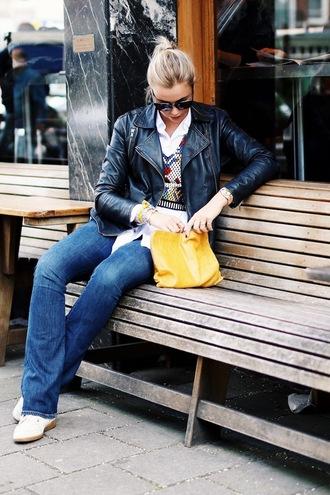 by vh blogger blouse jeans zara embroidered isabel marant perfecto black leather jacket yellow bag