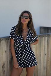 romper,polka dots,polka dots romper,sunglasses