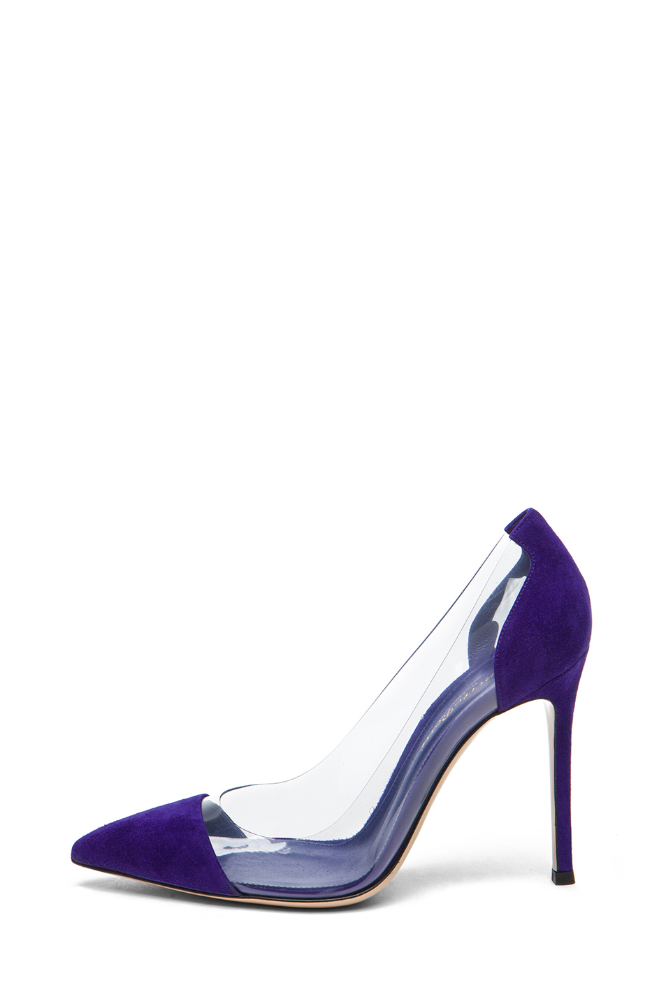 Gianvito Rossi|Plexy Suede Laser Pump in Indigo