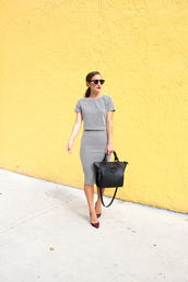 lana jayne,blogger,two-piece,classy,office outfits,black bag,pencil skirt,top,skirt,sunglasses,shoes,bag