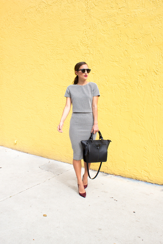 lana jayne blogger two-piece classy office outfits black bag pencil skirt top skirt sunglasses shoes bag