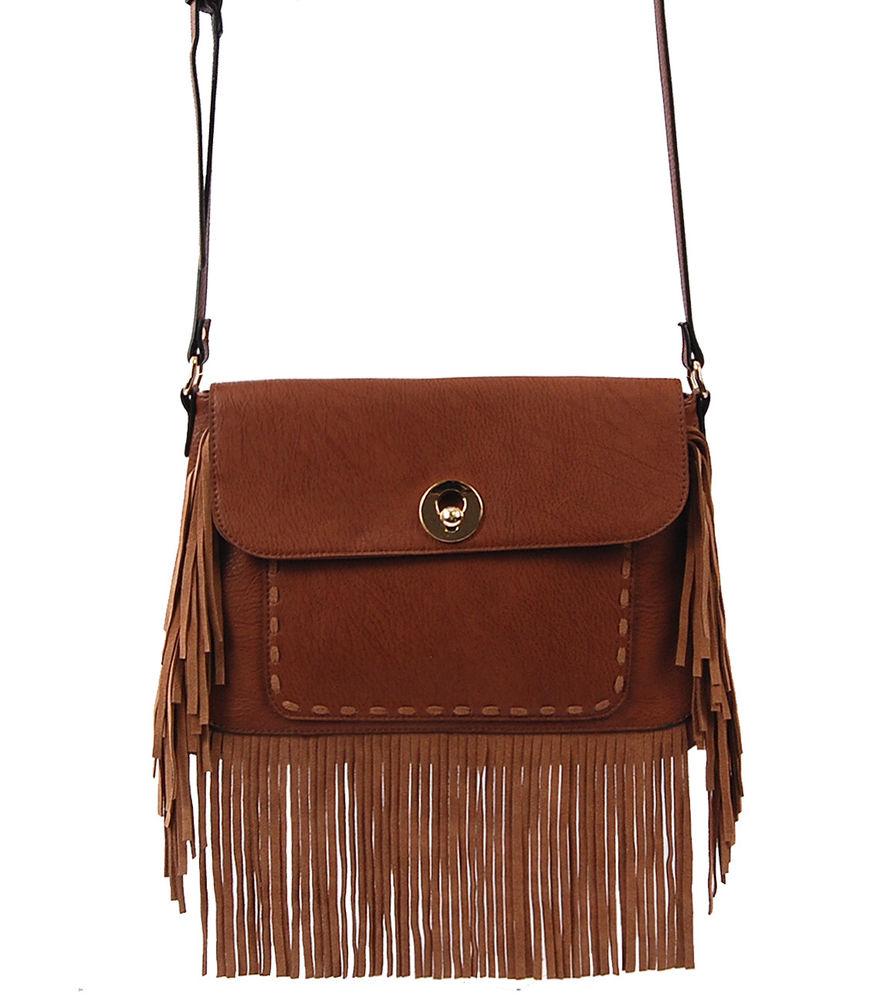Boho Chic Fringe Satchel handbag Purse Shoulder Bag
