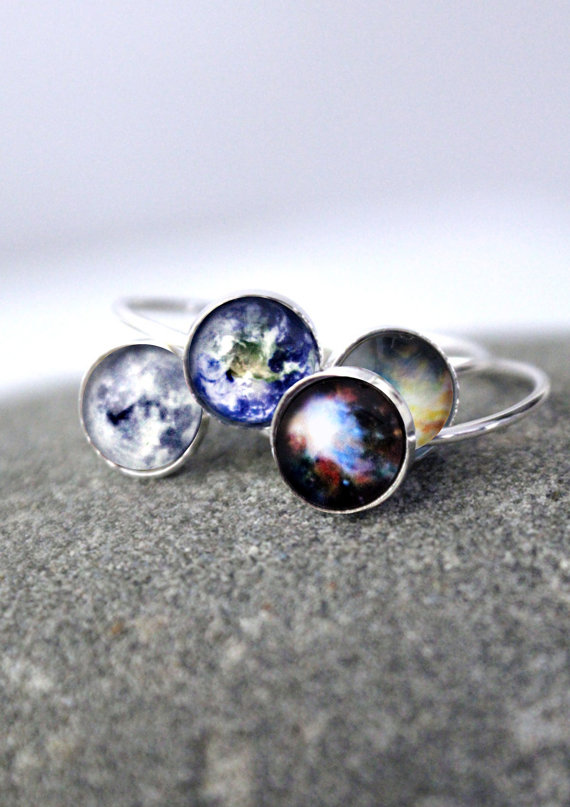 Galaxy Space Ring  Sterling Silver 8mm Custom Sized by jerseymaids
