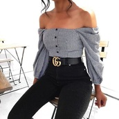shirt,off the shoulder,stripes,checkered,checked shirt,long sleeves,gucci,gucci belts,black,white,blouse,black and white
