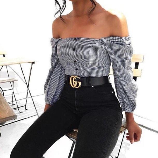 shirt off the shoulder stripes checkered checked shirt long sleeves gucci gucci belts black white blouse black and white belt gucci belt top