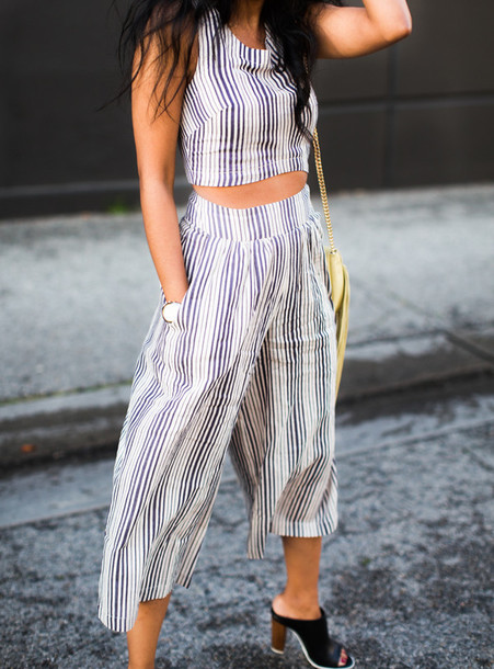 walk in wonderland blogger stripes two-piece crop tops culottes top bag shoes make-up jewels