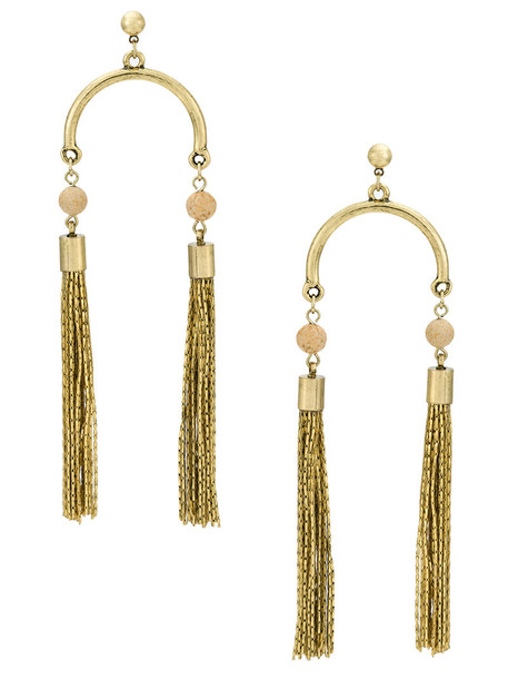 tassel women earrings grey metallic jewels