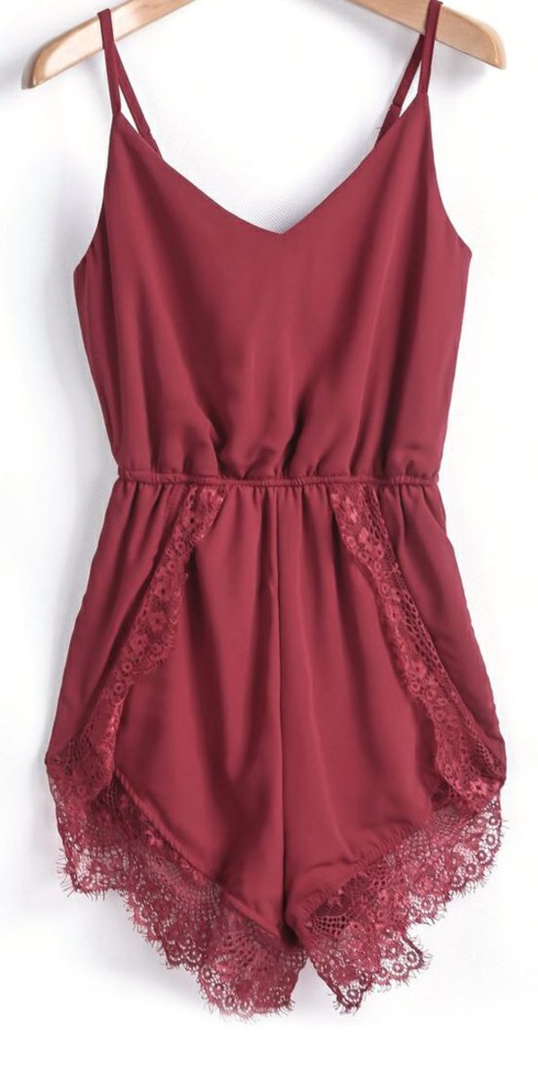 romper burgundy spaghetti strap lace jumpsuit orange maroon/burgundy texas a&m lace romper bordeaux red wine red cute