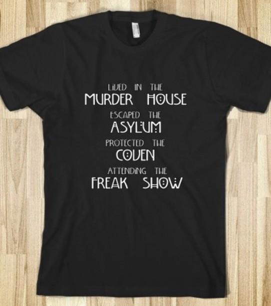 t-shirt freak show ahs coven coven asylum murder house american horror story evan peters emma roberts sarah paulson tate langdon jessica lange tv american horror story tv show american horror story