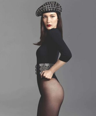 belt top hat bella hadid tights bodysuit make-up editorial