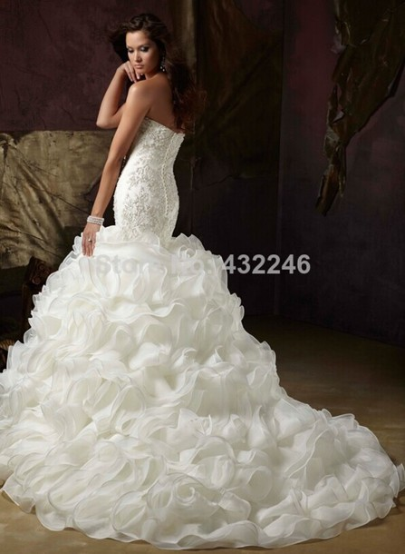mermaid wedding dress, mermaid, ruffle, wedding dress, bridal dress ...