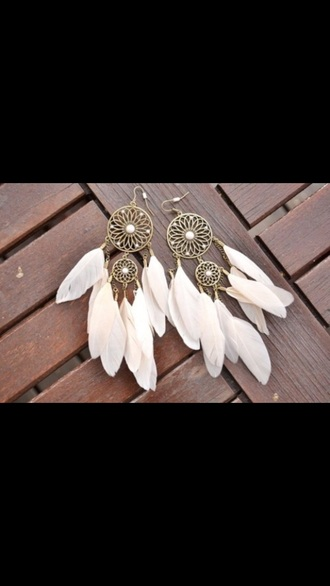 earrings jewels style fashion ear piercings white hippie indie dreamcatcher earrings native american hippie jewelry