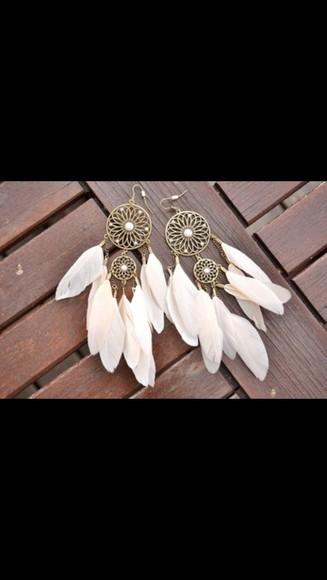 jewels hippie native american indie fashion style white dreamcatcher earrings earrings ear piercings hippie jewelry