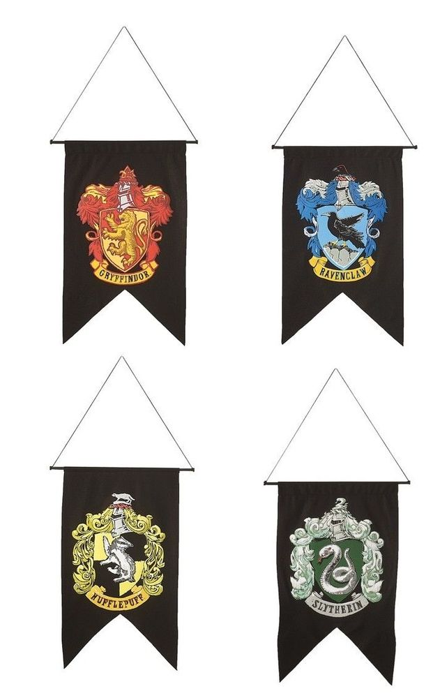 Harry Potter 4 Banner Set HOGWARTS GRYFFINDOR HUFFLEPUFF RAVENCLAW SLYTHERIN NEW