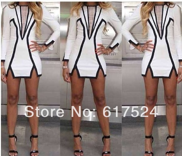 2014 European American bandage dress party black and white geometric mini pencil dress nightclub sexy Bodycon party dress Women-in Apparel & Accessories on Aliexpress.com