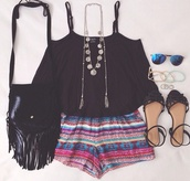 shorts,tribal pattern,tank top,sunglasses,jewels,shoes,bag,top,jewelry,hipster