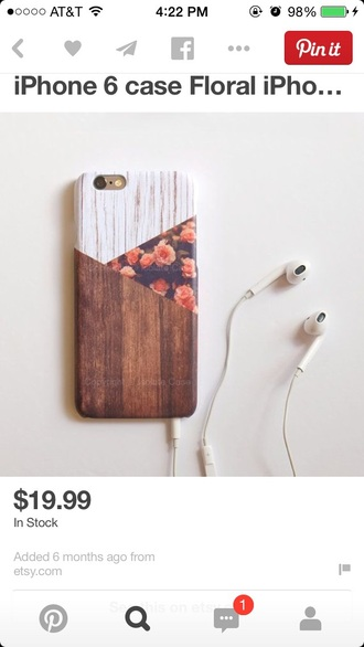 phone cover wood floral hipster