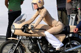 jumpsuit nude beige chanel brown dress yellow dress orange dress keira knightley dress