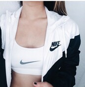 jacket,nike,outlet,clothes,tumblr,black,white,coat,black and white,nike windbreaker,windbreaker