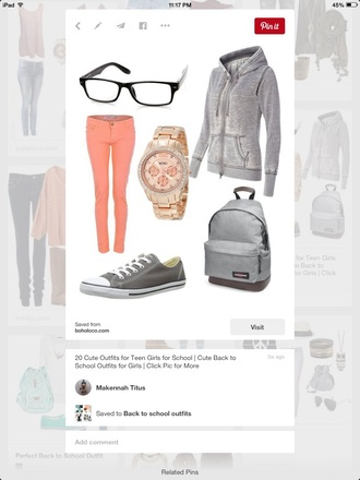 jacket grey salmon glasses shoes watch