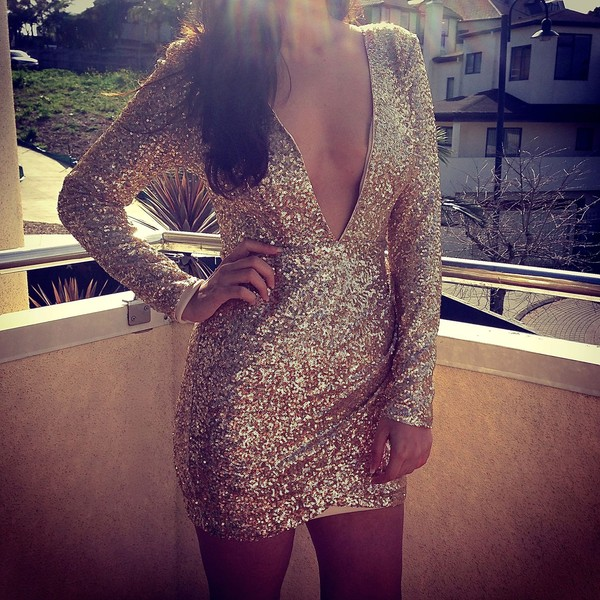 dress low cut dress glitter dress bodycon dress gold dress long sleeve dress v neck dress
