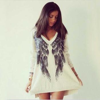 2015 brand new angel wings hoodies sweatshirt women autumn summer long sleeve print tee v neck wing pattern shirt free ship