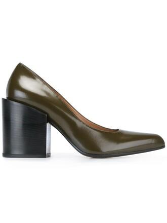 heel pumps green shoes