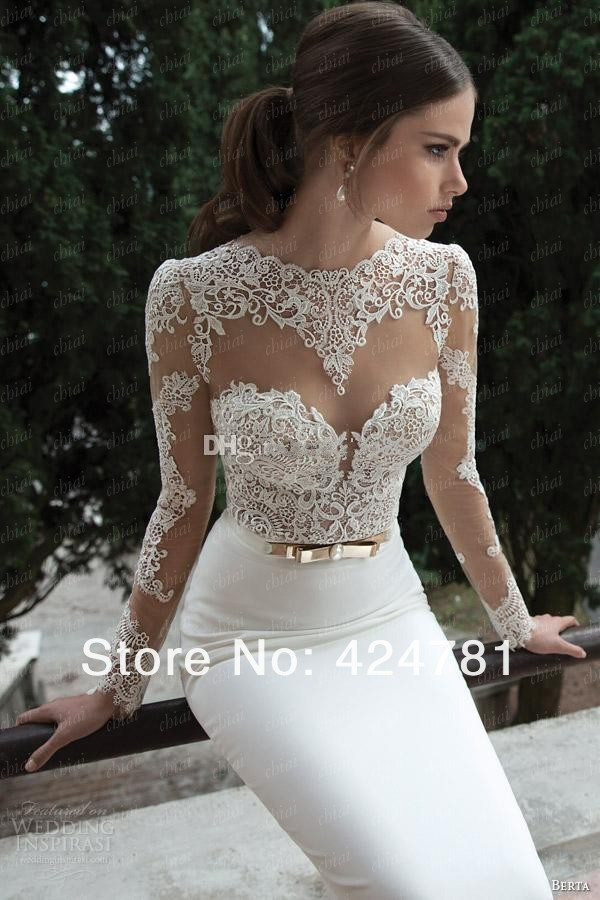 Vestidos De Noiva 2014 New Arrival Sexy Long Sleeves Sheer Lace Mermaid Wedding Dresses Satin Bridal Weddings Events Gowns In Celebrity Inspired