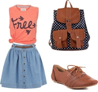 skirt free vest pink tank backpack brown shoes skater skirt denim skater skirt brown belt pokadots denim skirt leather backpack coral