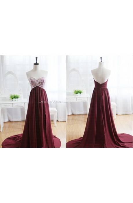Length burgundy evening dress