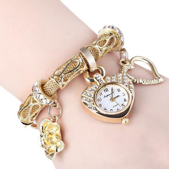 jewels watch gold rhinestones heart girly flowers