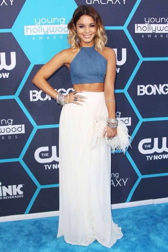 pants top blue crop top crop tops blue top denim top vanessa hudgens long pants white pants high waisted pants wide-leg pants stacked bracelets bracelets celebrity celebrity style