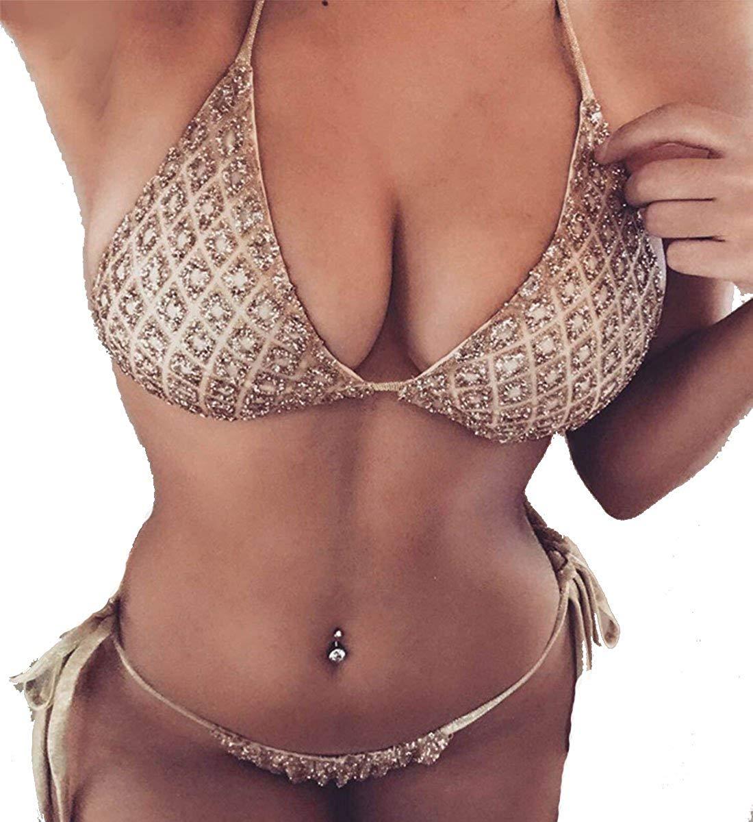 Amazon.com: Sexy Sparkle Tie Up Halter Bikini Swimwear for Women Bandage Back 2PCS Swimsuit for Girl: Clothing