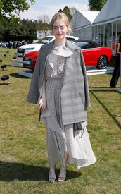 dress,midi dress,emma stone,grey,coat,sandals,asymmetrical dress