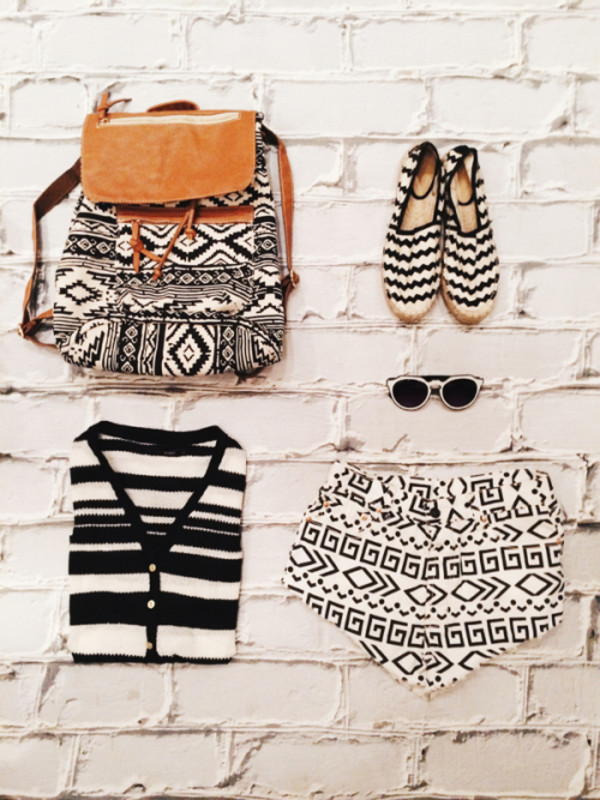 fashion coolture shoes sunglasses chevron pattern backpack bag