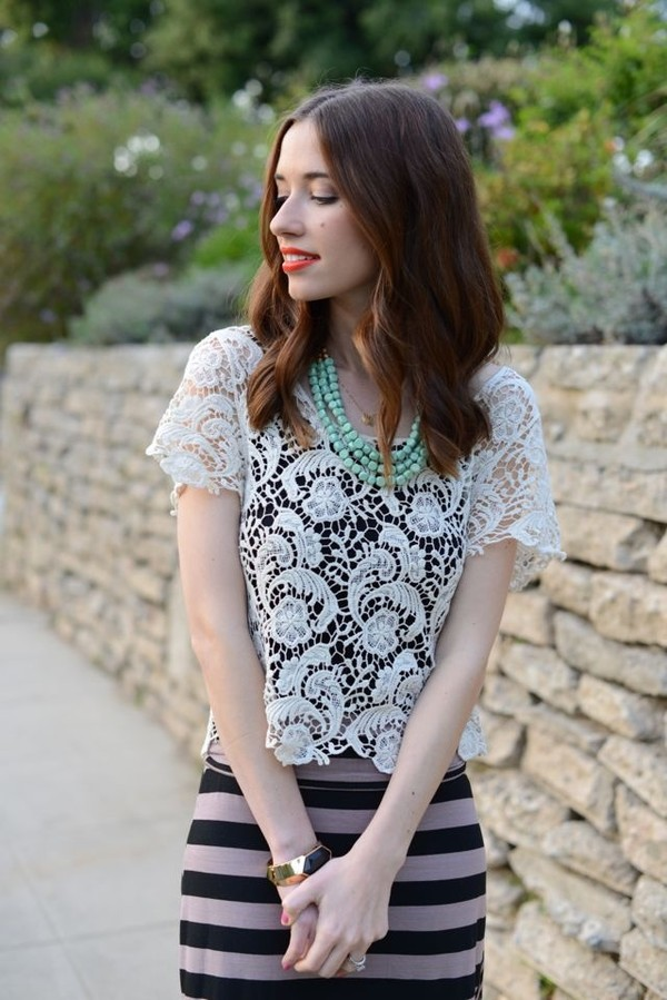 jewels lace white shirt striped skirt blouse