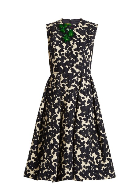 DELPOZO dress embellished floral cotton navy print