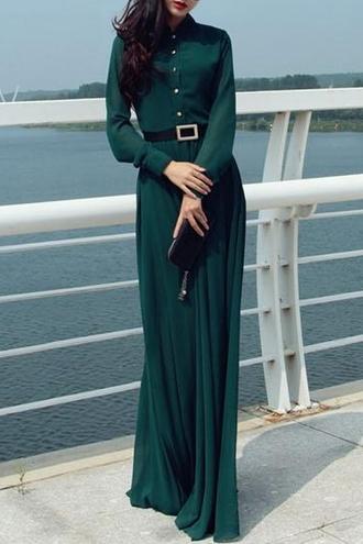 dress vert green green dress long dress maxi dress hijab zaful chiffon fall outfits streetwear streetstyle vintage