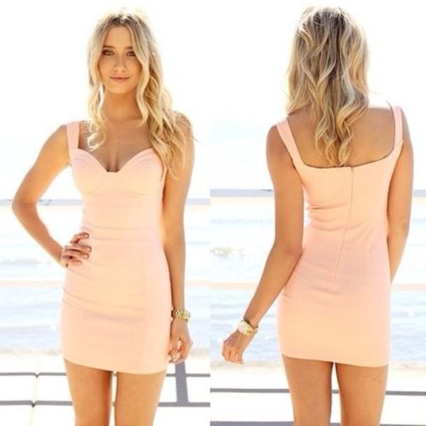 5b9a8b70b0a dress bodycon nude robe robes peach dress peach summer dress mini dress  short dress pastel dress
