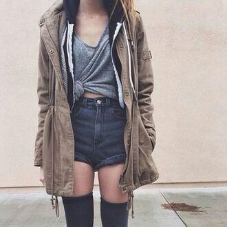 jacket shorts shirt blouse denim shorts parka high waisted shorts thigh highs grey t-shirt