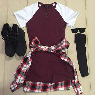dress divergence clothing tshirt dress burgundy dress chunky boots grunge burgundy flannel flannel shirt fall outfits t-shirt dress casual