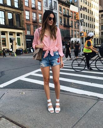 shorts embroidered shorts denim shorts blue shorts sandals white sandals shirt pink shirt bag gucci bag gucci sunglasses summer outfits