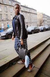 zelda and festus,blogger,checkered,leather jacket,keychain